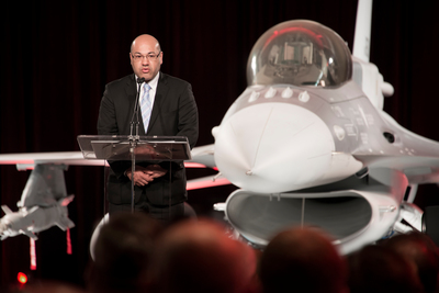 Iraq's ambassador to the U.S., Lukman Faily, highlights the importance of partnership between Iraq and the United States during a ceremony marking the delivery of the first Iraq F-16 Fighting Falcon at Lockheed Martin's Fort Worth, Texas, facility. (PRNewsFoto/Lockheed Martin Aeronautics Co.)