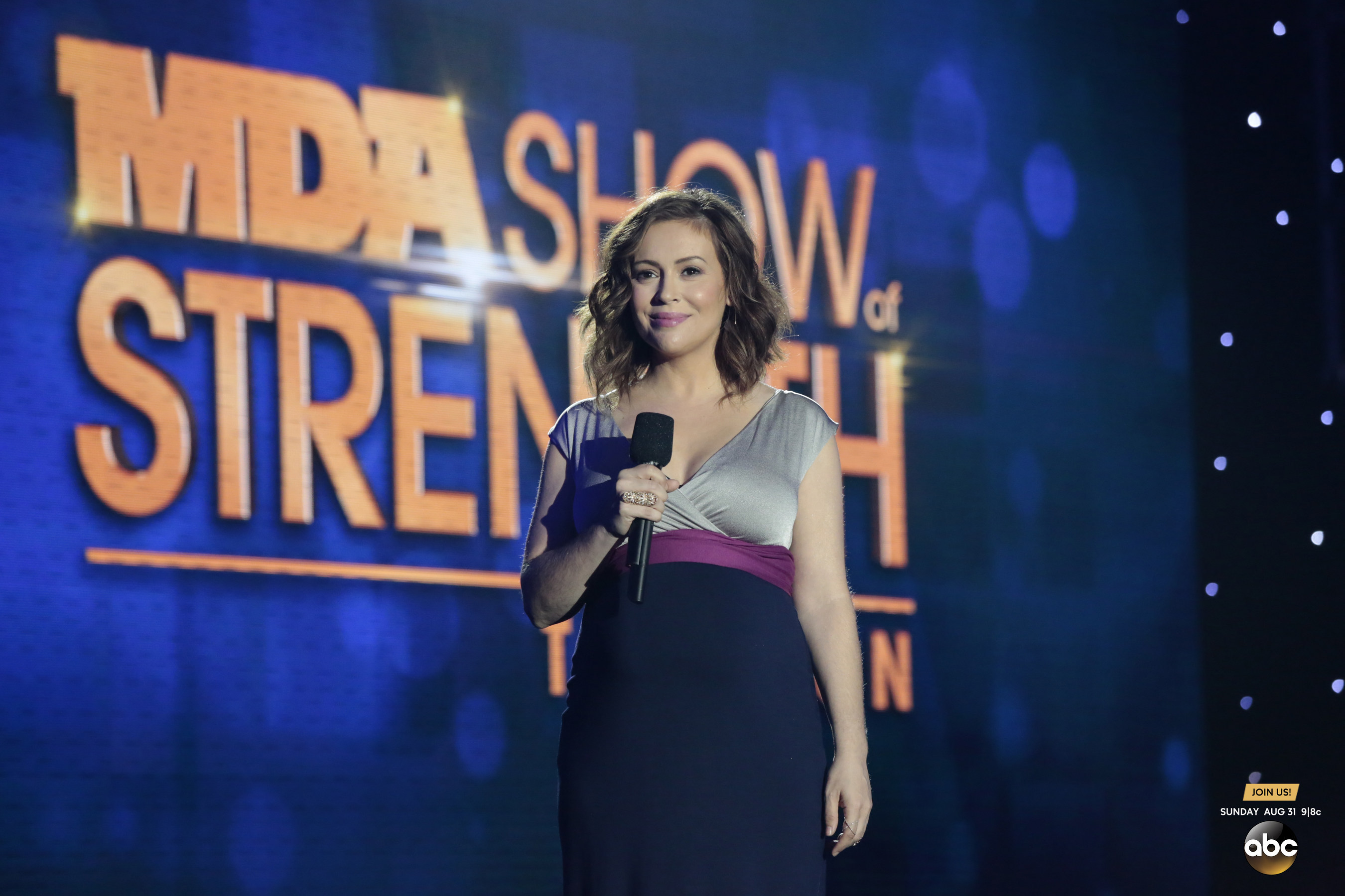 """Alyssa Milano of the ABC hit drama series """"Mistresses"""" introduces some of the 2014 MDA Show of Strength Telethon's biggest talent during the 49th annual broadcast airing Sunday, Aug. 31 9