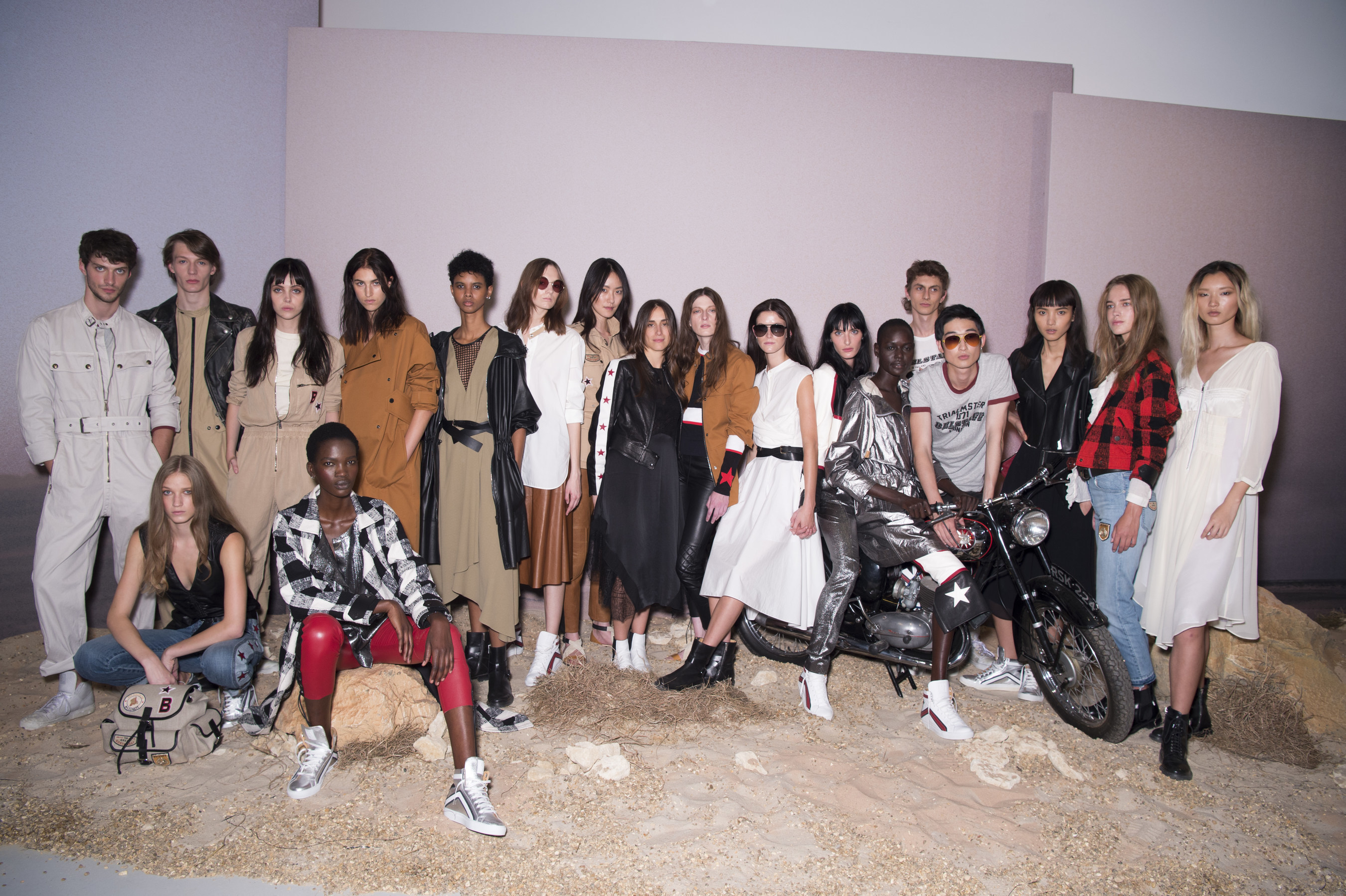 Belstaff Presents SS17, 'Across the Wilderness', at London Fashion Week, September 2016, Group Model shot with Collection Creative Director Delphine Ninous
