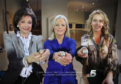 Dallas sports team owners' wives Gene Jones, Ruth Ryan and Tiffany Cuban display their teams' championship rings during an interview with NBC 5 Dallas-Fort Worth anchor Meredith Land scheduled to air Super Bowl Sunday during NBC 5 News at 10 p.m.  (PRNewsFoto/NBC 5 / KXAS-TV)