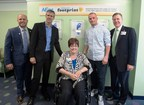 """Aflac celebrated three heroes to the cause of fighting children's cancer today at Cook Children's Medical Center in Forth Worth Texas. Left to right are Eric Leger, Aflac Territory Director, Honoree Mark """"Hawkeye"""" Louis, Honoree Teresa Clark, Honoree Scott Odom and Cook Medical Center CEO Rick Merrill"""