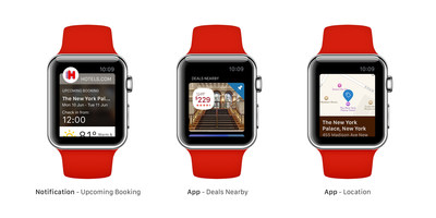 Hotels.com(R) announced its first Apple(TM) Watch compatible app, enabling its users to seek nearby hotel deals, view upcoming reservations and locate their hotel via GPS.