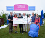 Stephen P. Holmes, chairman and chief executive officer; and Faith Taylor, senior vice president, corporate social responsibility at Wyndham Worldwide, present a check for $100,000 to Birdies Fore Backpacks from the Company's Wishes by Wyndham Foundation.  Birdies Fore Backpacks is the official charity of the Wyndham Championship, and supports charitable organizations which fill backpacks with nutritionally sound meals for low income kids and families to take home every weekend...