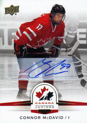 Upper Deck signs the #1 NHL Draft Pick to an exclusive trading card deal. McDavid will also appear on packaging for the trading card company.