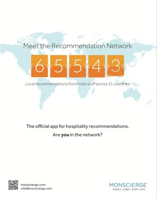 Monscierge's Recommendation Network reaches over 65k local concierge recommendations worldwide. (PRNewsFoto/Monscierge)