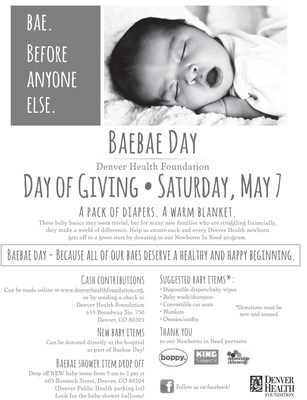 The Boppy Company Helps Make Life Sweeter for Denver's Tiniest Citizens on BAEBAE Day. Join Boppy by making a donation of goods or a financial donation to help Denver's Newborns in Need.