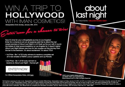 IMAN Cosmetics About Last Night Hollywood Sweepstakes. (PRNewsFoto/Omerge Alliances) (PRNewsFoto/OMERGE ALLIANCES)