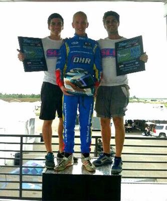 Jack Weprin After Sunday's Win w/Nicolas & Thomas Silva of SLV Motorsports.  (PRNewsFoto/Jack Weprin)