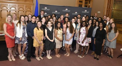 Comcast NBCUniversal announced that it has awarded $54,000 in scholarships for the 2016-17 school year to 45 Connecticut students as part of its annual Leaders and Achievers(R) Scholarship Program.  The students were recognized during a special ceremony at the Connecticut State Capitol on May 31, 2016.
