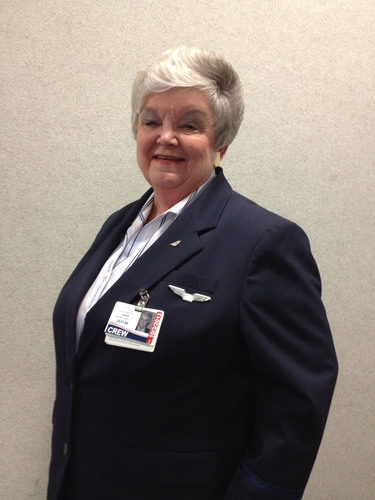 US Airways Flight Attendant Sali Burgard celebrated her 50th anniversary with the company this month.  ...