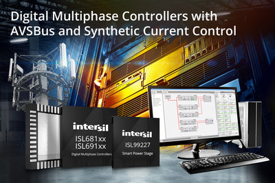 Intersil's ISL681xx and ISL691xx digital multiphase controllers provide up to seven phases assignable in any combination across two outputs, and combine with smart power stages to deliver up to 450A to any processor, ASIC or FPGA.