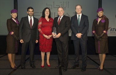 Etihad Airways management are pictured after being presented with the coveted Airline of the Year 2016 award by Air Transport World (ATW) in Singapore this evening. Flanked by the airline's cabin crew are, from left, Hareb Al Muhairy, Senior Vice President Corporate and International Affairs; Karen Walker, ATW Editor-in-Chief; James Hogan, President and Chief Executive Officer; and James Rigney, Chief Financial Officer.