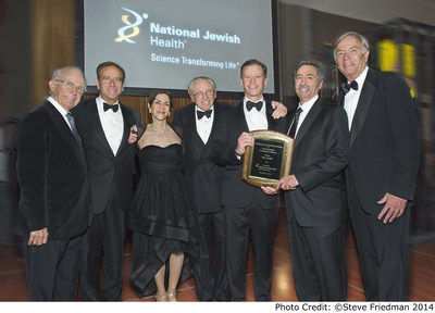 The real estate and construction industries stepped up for the 45th consecutive year to support National Jewish Health, the nation's leading respiratory hospital, at the Winter's Evening Dinner Dance, Saturday, December, 13, in New York. Pictured from right to left are Leonard Boxer, Stroock & Stroock & Lavan, LLP; Michael Salem, MD, National Jewish Health; Winter's Evening Executive Chair Wendy Siegel; Larry Silverstein, Silverstein Properties, Inc.; Humanitarian Award recipient Ric Clark, Brookfield Asset Management; Jonathan Mechanic, Fried, Frank, Harris, Shriver & Jacobson, LLP; Rich Schierburg, National Jewish Health.