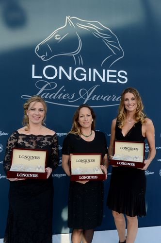 Annie Morgado, representative of Athina Onassis de Miranda, winner of the Longines Ladies Awards, Princess Zahra Aga Khan, winner of the Longines Ladies Awards, and Sophie Thalmann, winner of the Longines Ladies Awards.