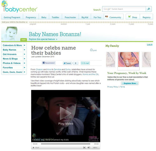 The Baby Names A-List: BabyCenter® Announces Favorite (And Least Favorite) Celebrity Baby Names of