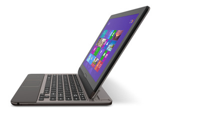 The Toshiba Satellite U925t Ultrabook Convertible combines the performance and form factor of an Ultrabook with the ease-of-use of a tablet and is ideal for on-the-go consumers and professionals.  (PRNewsFoto/Toshiba America Information Systems, Inc.)