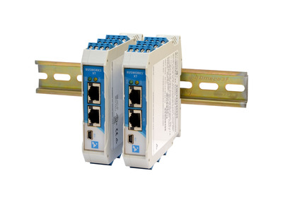 Acromag's new BusWorks(R) XT Series Ethernet I/O Modules interface discrete I/O signals directly to an Ethernet/IP, Modbus/TCP or Profinet measurement and control system network. An innovative new module design features dual Ethernet ports, removable front-facing terminal blocks, and support for a rail power bus. A USB port provides an easy connection to a PC for fast configuration and setup with free Windows software. Two models offer sixteen digital I/O channels supporting any combination of inputs and outputs for monitoring or control functions involving discrete devices (on/off, high/low, open/close).  (PRNewsFoto/Acromag)