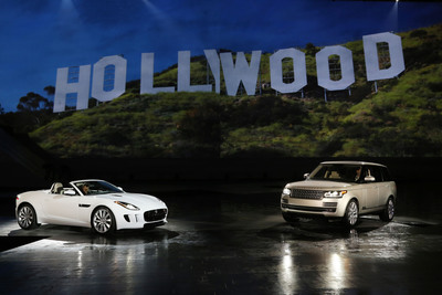 Jaguar Land Rover celebrated the U.S. arrival of the Jaguar F-TYPE and the all-new Land Rover Range Rover tonight at a special VIP preview with a dynamic reveal of both models at Paramount Pictures Studios in Los Angeles.  (PRNewsFoto/Jaguar Land Rover)