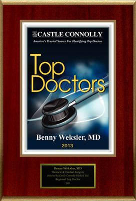 Dr. Benny Weksler, Thoracic & Cardiac Surgery, is named one of America's Top Doctors.  (PRNewsFoto/American Registry)