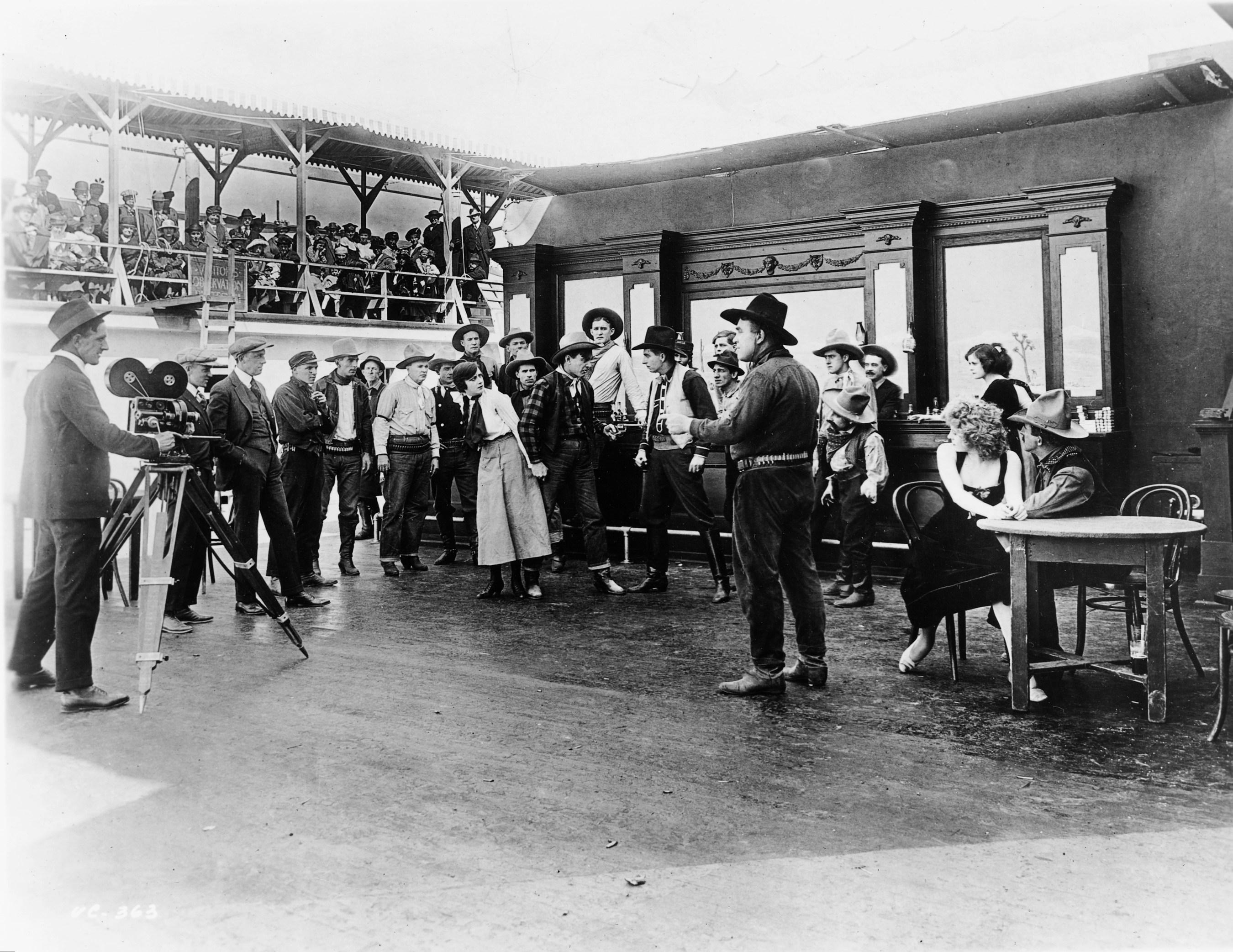 A silent film crew at Universal Studios.