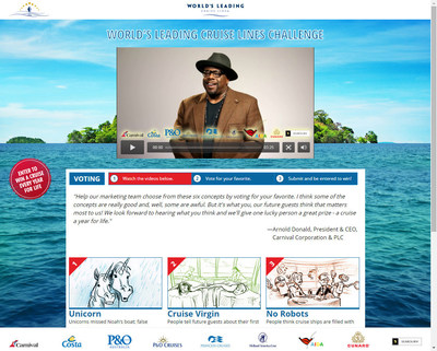 """The public is invited to take Carnival Corporation's """"World's Leading Cruise Lines Marketing Challenge"""" - an interactive crowdsourcing program in which celebrity emcee Cedric the Entertainer asks consumers to """"join the company's marketing team"""" and pick their favorite from six creative concepts."""