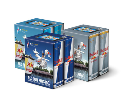 The Red Bull Flugtag 4-Pack celebrates the first-ever National Red Bull Flugtag, the world's craziest homemade, human-powered flying machine competition taking flight in five cities on September 21 - Chicago, Dallas/Ft Worth, Long Beach, Miami and Washington DC.  The 4-Pack features a text-in and QR code linking to the Red Bull Flugtag mobile game that will make one creative, aspiring aviator a real-life Red Bull Flugtag pilot.  (PRNewsFoto/Red Bull North America)