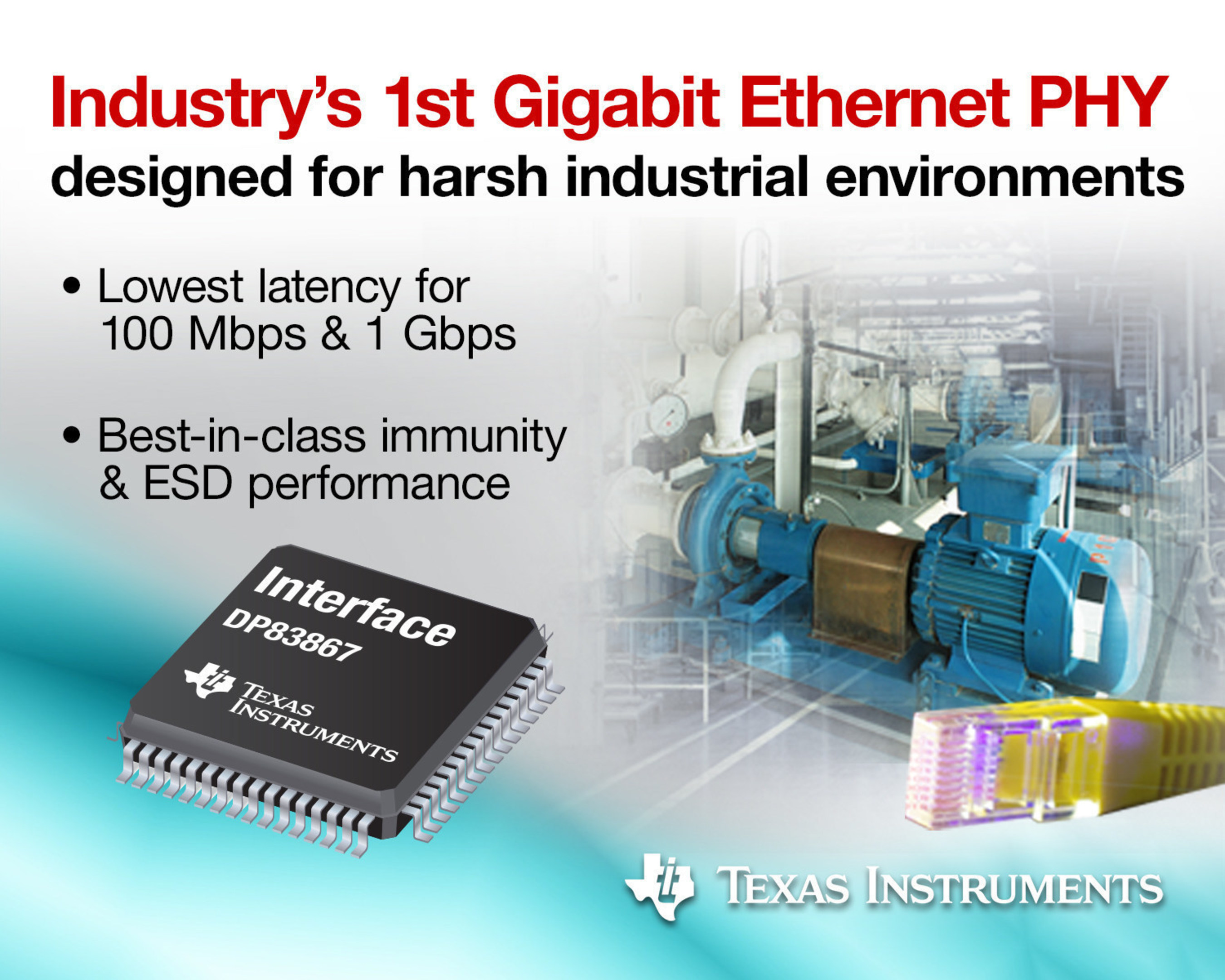 TI introduces lowest latency, highest ESD industrial Gigabit Ethernet PHYs, enabling real-time Industry 4.0 applications
