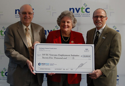 Chairman of the Pentagon Federal Credit Union Board of Directors, Edward B. Cody, presents a $25,000 donation to NVTC President and CEO Bobbie Kilberg and NVTC Veterans Employment Initiative Co-Chair David Lucien of DCL Associates.