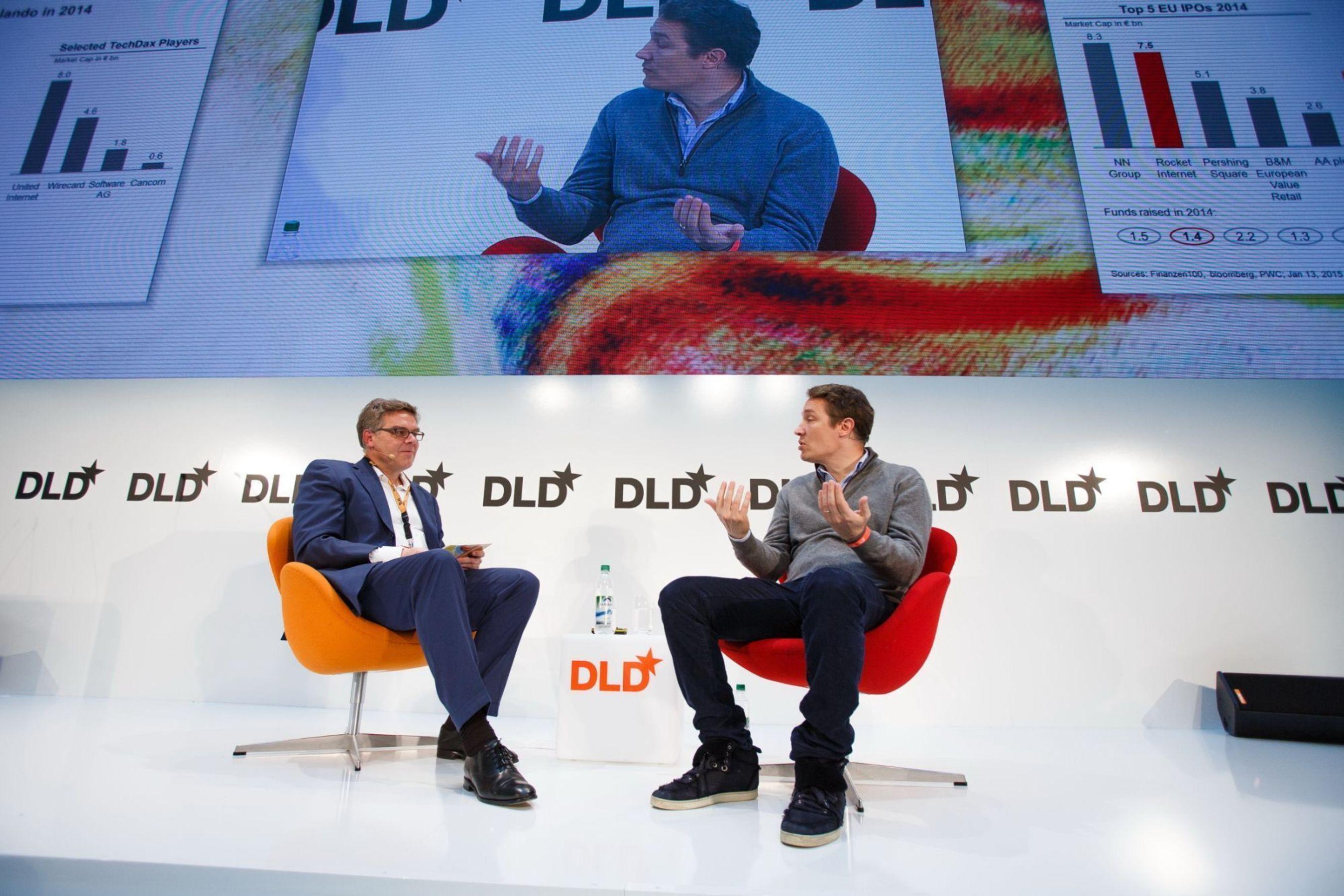 Burda Board Member Stefan Winners spoke with Oliver Samwer, founder of Zalando, about the recipe for success enjoyed by start-up incubator Rocket Internet at the DLD conference in Munich (PRNewsFoto/Hubert Burda Media)