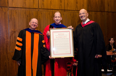 Rutgers Business School Dean Glenn Shafer stands with Professor Morris Davis (center) and real estate investor Paul Profeta. Profeta's gift helped to fund an endowed faculty chair held by Davis.