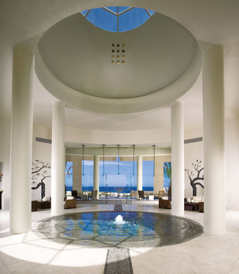 """The stunning Pueblo Bonito Pacifica lobby in Cabo San Lucas, Mexico, where the resort will roll out the ultra inclusive """"Luxury Without Limitations"""" beginning January 1, 2011.  (PRNewsFoto/Pueblo Bonito Oceanfront Resorts and Spas)"""