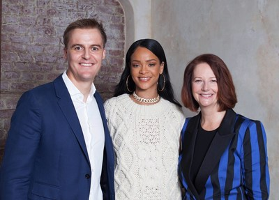 Hugh Evans, CEO of Global Citizen, with Rihanna and Global Partnership for Education (GPE) Chair and former Prime Minister of Australia, Julia Gillard, announce partnership with Rihanna's Clara Lionel Foundation where she will serve as the Global Ambassador for Education.