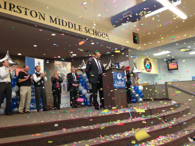 "GCS Superintendent Maurice ""Mo"" Green announces district won $30 million federal grant to students at Hairston Middle School in Greensboro, NC.  (PRNewsFoto/Guilford County Schools)"