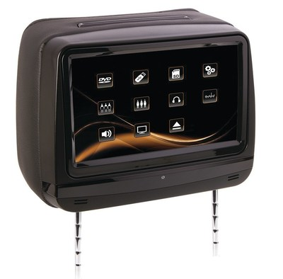 """Soundstream VHD-99 Universal Replacement Headrest pre-loaded with DVD player and 9"""" LCD Touch Screen"""