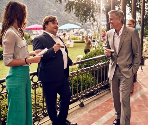 Dynamic duo Jack Black and George Clooney are pictured backstage as they film the amusing new Nespresso ...