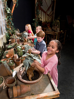 Harry Potter:The Exhibition is an interactive experience where visitors can pull a Mandrake, toss a Quaffle, and tour Hagrid's hut.  (PRNewsFoto/Global Experience Specialists, Inc.)