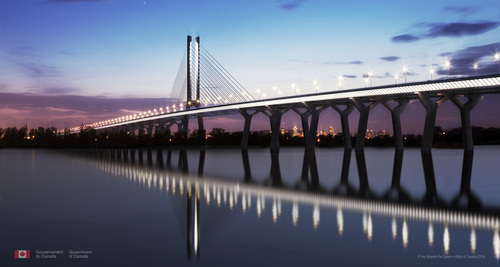 The curved alignment and sculptural piers of the New Bridge create an instantly recognisable shore-to-shore ...