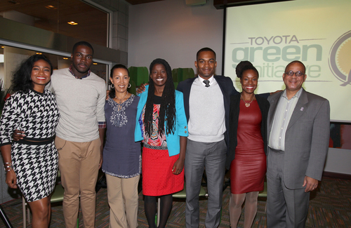 Toyota Green Initiative Coalition members, actress Tatyana Ali, 2010 TGI Campus Contest Winner Stephen Graddick, SMB Essentials CEO Lake Louise, Earthseed Consulting co-founder Pandora Thomas, 2012 TGI Green Campus Winner Corban Bell, Earthseed Consulting co-founder Zakiya Harris and Black and Green author Jamal Ali, help announce the donation of twenty-two hybrid vehicles to HBCUs.  (PRNewsFoto/Toyota)
