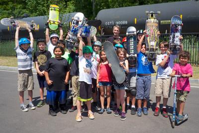 Tony Hawk celebrates Burlington, Vermont's A-Dog Skatepark with a group of locals. Photo: Jody Morris