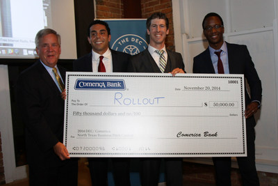 Pat Faubion, Texas Market President for Comerica Bank (far left), presents the $50,000 check to Rollout, Inc., winner of the inaugural DEC/ Comerica North Texas Business Pitch Contest at the Dallas Entrepreneur Center on Thursday evening, November 20, 2014. Rollout execs (from left to right) are Alejandro Jacobo, co-founder & CMO; Matt Hinson, founder & CEO; and Trevor Marimira, product development lead.