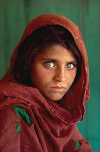 Afghan Girl by Steve McCurry, on display at the Imagine Exhibitions Gallery at the Venetian Las Vegas. Photo ...
