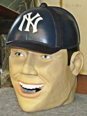 Wearable finished cast bust of a New York Yankees baseball player, from a David Letterman comedy sketch.