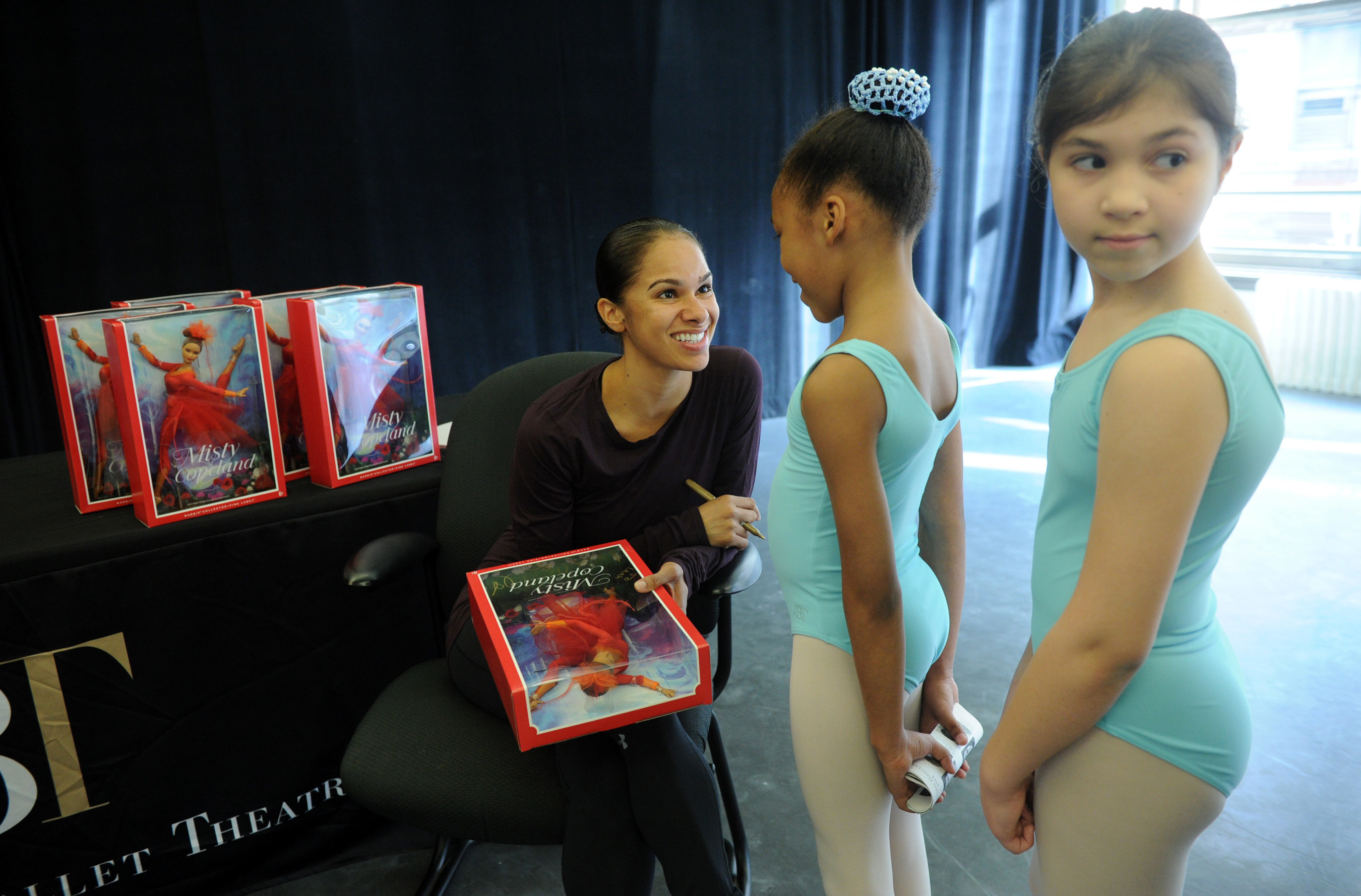 """May 2, 2016 - Misty Copeland unveils her new Barbie doll for Project Plie dancers at the American Ballet Theatre in New York City. The one-of-a-kind doll, made in Misty's likeness, continues to show girls they can be anything and is part of the brand's """"Sheroes"""" line. Credit: Diane Bondareff, AP Photographer"""