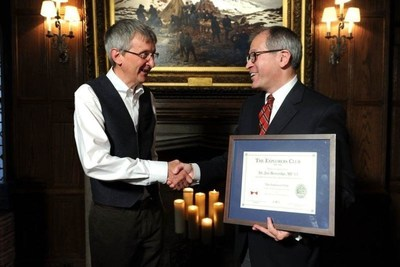 Will Roseman, Executive Director of The Explorers Club, welcomes new member Dr Jim Beveridge, Johnnie Walker Master Blender (PRNewsFoto/Johnnie Walker)