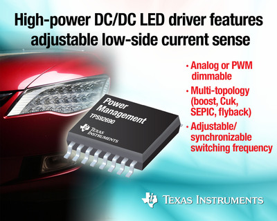 High-power, multi-topology TPS92690 DC/DC LED driver provides design flexibility and low EMI for automotive headlamps, fog lights and general-purpose area lighting.  (PRNewsFoto/Texas Instruments Incorporated)