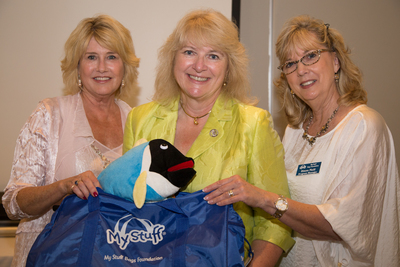 Patty Pearcy, CEO of SimplyFun,LLC (center) with Janeen Holmes, President /CEO, and Diann Neill, Program Manager of My Stuff Bags.