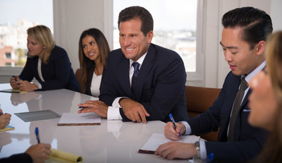 Carney Shegerian meets with his legal team in their Los Angeles office to discuss a case.