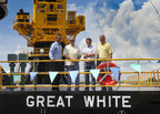 All Coast Vice President/Chief Operating Officer Byron Allemand, Co-CEO/Manager John Powers, Board Member Stephen Minor, Co-CEO/Manager John Nesser attend the August 20 christening ceremony of All Coast's new Class 250 Liftboat, the Great White.