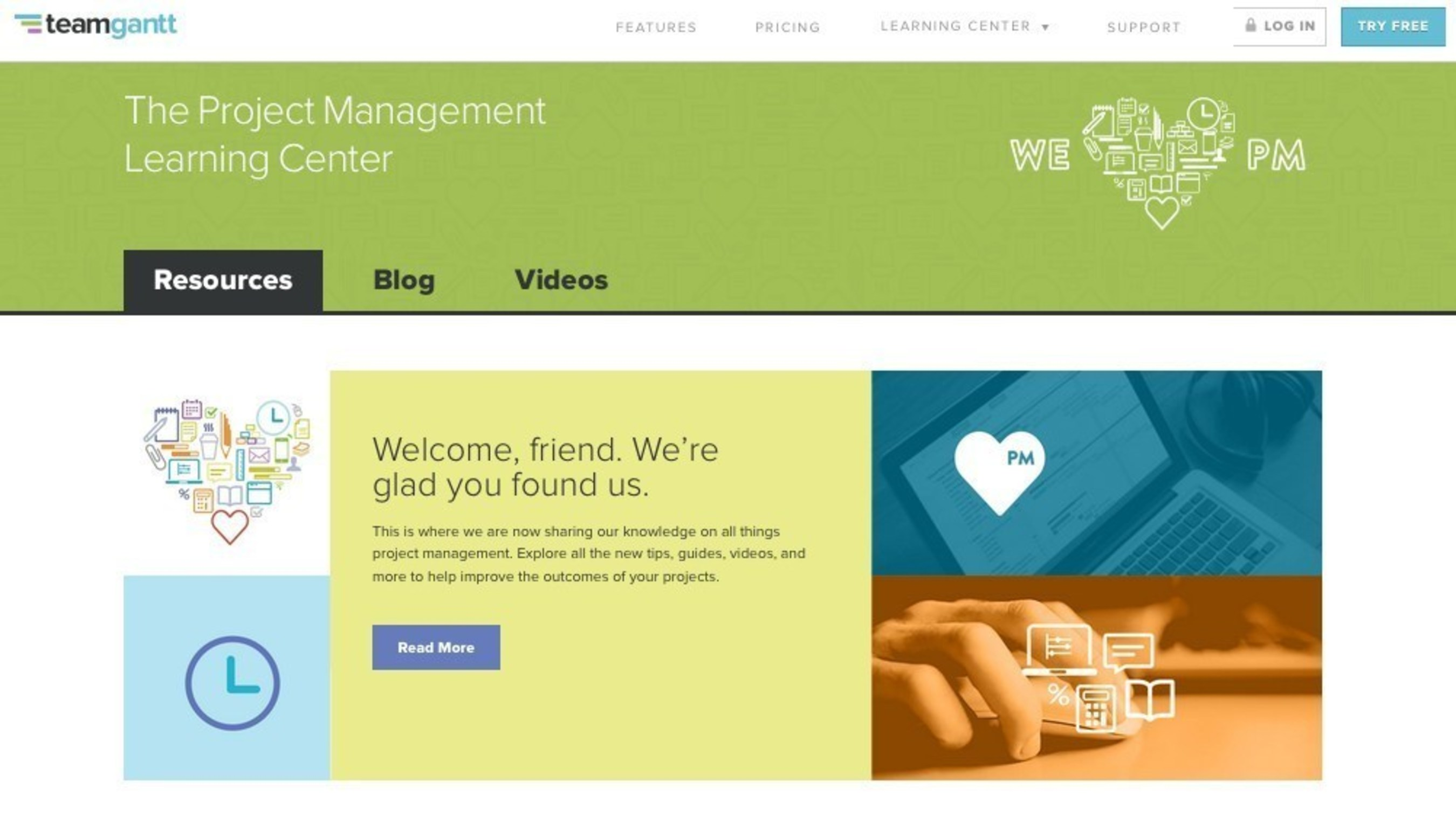New Project Management Learning Center by TeamGantt
