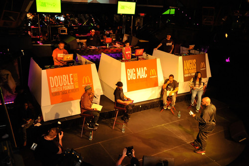 Renowned DJ/digital guru Funkmaster Flex (front center) hosts McDonald's Flavor Battle finale in Miami ...